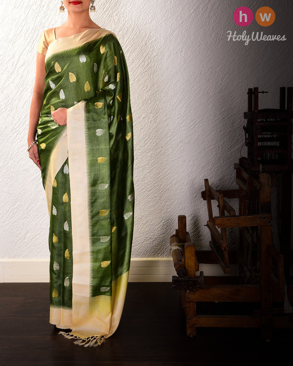 Army Green Leaf Buti Kadhuan Brocade Handwoven Tasar Silk Saree with Temple Border