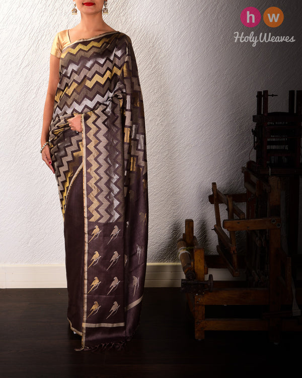 Brown 3-Yarn Chevron Zig-Zag Kadhuan Brocade Handwoven Tasar Silk Saree with Parrot Pallu