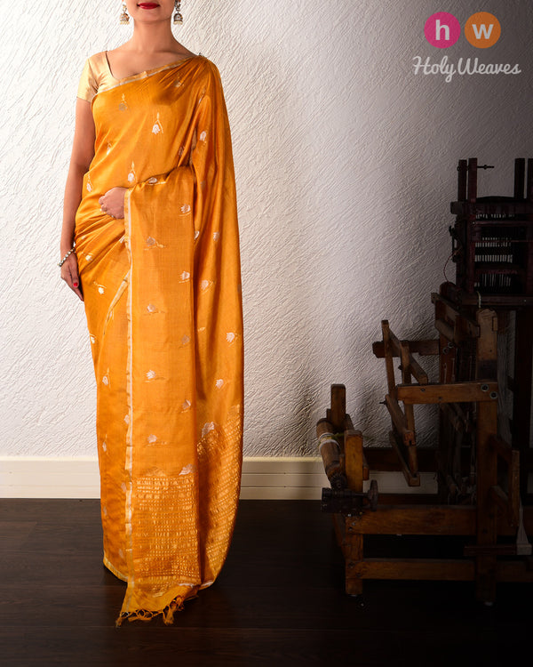 Marigold Yellow Sona-Rupa Leaf Lotus Buti Kadhuan Brocade Handwoven Tasar Silk Saree with Khapa Pallu