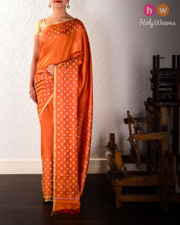 Orange Karnaphool Kadhuan Brocade Handwoven Tasar Silk Saree
