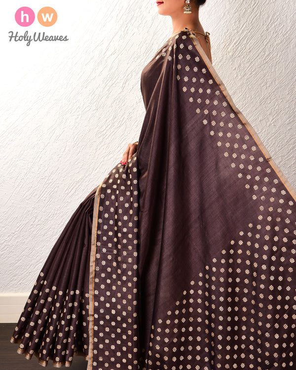 Black Coffee Brown Karnaphool Kadhuan Brocade Handwoven Tasar Silk Saree - HolyWeaves