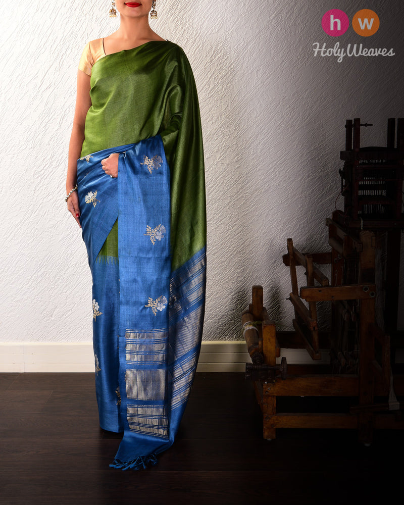 Green-Blue Alfi Sona-Rupa Pushp Buta Kadhuan Brocade Handwoven Tasar Silk Saree - HolyWeaves