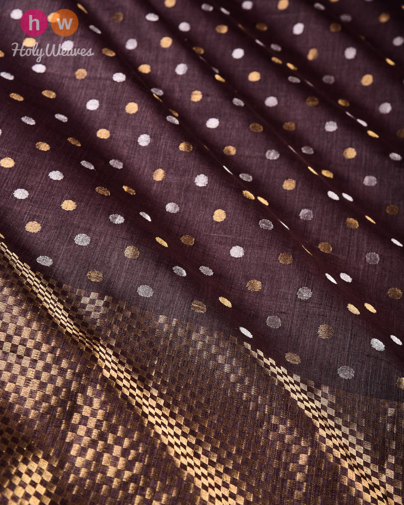 Black Coffee Brown Ghani 40-Sirki Sona Rupa Polka Buti Kadhuan Brocade Handwoven Tasar Silk Saree - HolyWeaves