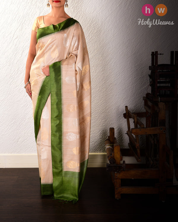 Beige Damask Buta Kadhuan Brocade Handwoven Tasar Silk Saree with Temple Border