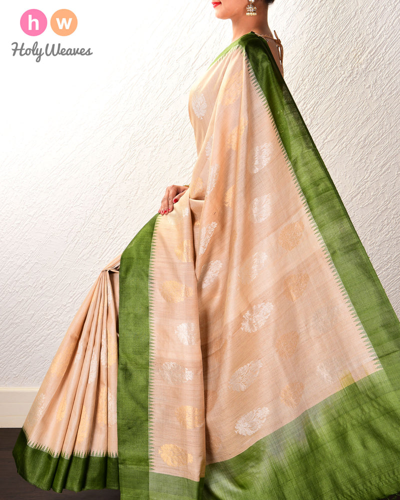 Beige Damask Buta Kadhuan Brocade Handwoven Tasar Silk Saree with Temple Border - HolyWeaves