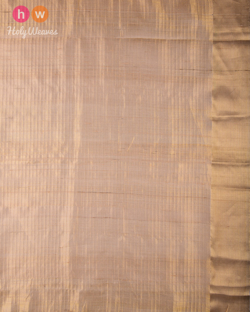 Beige 4-Yarn 2-Step Jaal Kadhuan Brocade Handwoven Tasar Silk Saree with Zari Stripe Border - HolyWeaves
