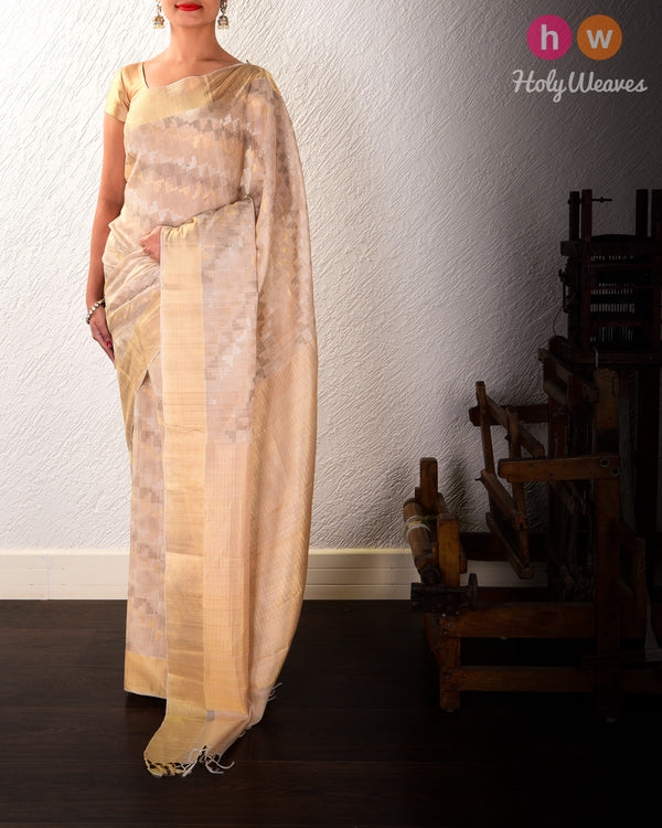 Beige 4-Yarn 2-Step Jaal Kadhuan Brocade Handwoven Tasar Silk Saree with Zari Stripe Border