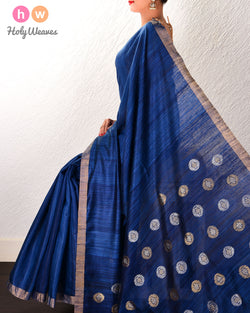Blue Kadhuan Brocade Handwoven Tasar Matka Silk Saree with Brocade Pallu