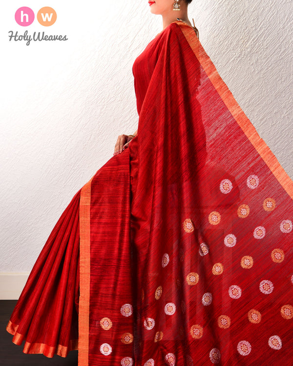 Red Kadhuan Brocade Handwoven Tasar Matka Silk Saree with Brocade Pallu - HolyWeaves