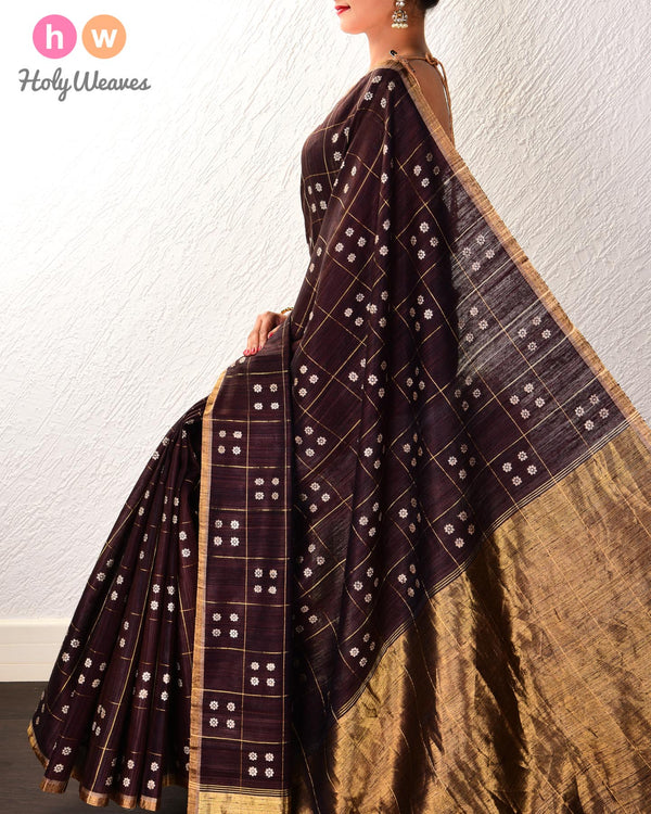 Black Coffee Brown Chequered Karna Phool Kadhuan Brocade Handwoven Tasar Matka Silk Saree