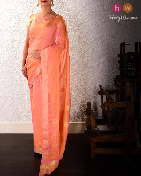 Peach Polka Zari Buti Kadhuan Brocade Handwoven Cotton Silk Saree - HolyWeaves