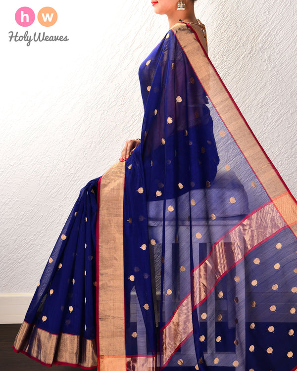 Navy Blue Kamal Buti Kadhuan Brocade Handwoven Cotton Silk Saree - HolyWeaves