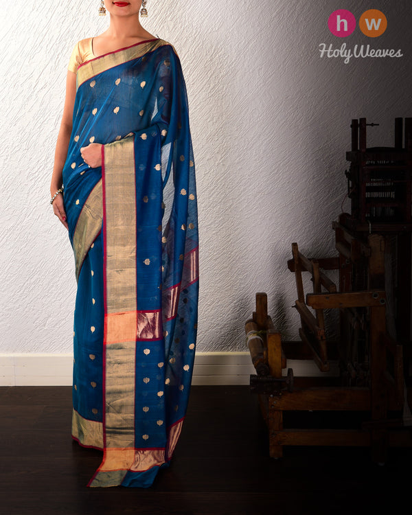 Teal Blue Kamal Buti Kadhuan Brocade Handwoven Cotton Silk Saree - HolyWeaves
