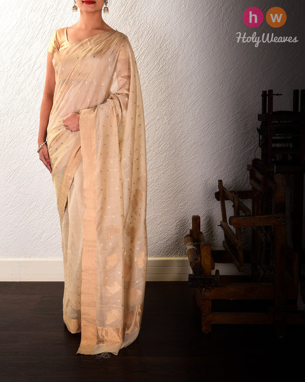 Beige Polka Zari Buti Kadhuan Brocade Handwoven Cotton Silk Saree - HolyWeaves