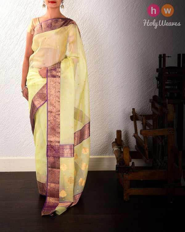 Mellow Yellow Chhoti Buti Kadhuan Brocade Handwoven Kora Silk Saree with Mauve Brocade Border