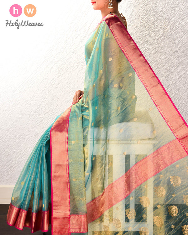 Caribbean Green Gol Zari Buti Kadhuan Brocade Handwoven Kora Tissue Saree with Brocade Border Pallu