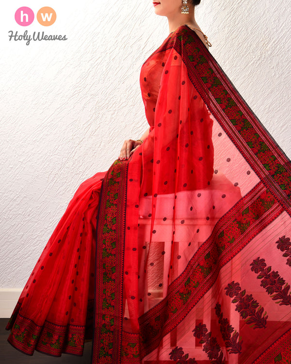Red Resham Buti Kadhuan Brocade Handwoven Kora Silk Saree with Meenedar Resham Border Pallu