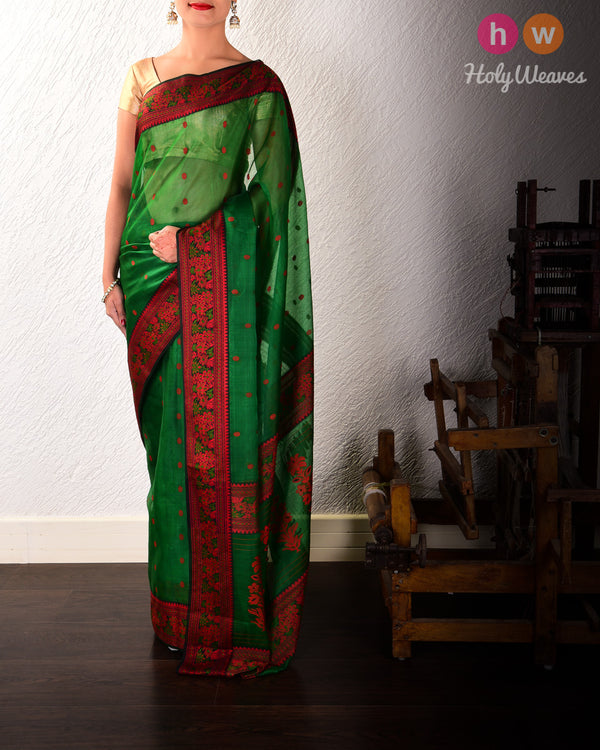 Forest Green Resham Buti Kadhuan Brocade Handwoven Kora Silk Saree with Meenedar Resham Border Pallu - HolyWeaves