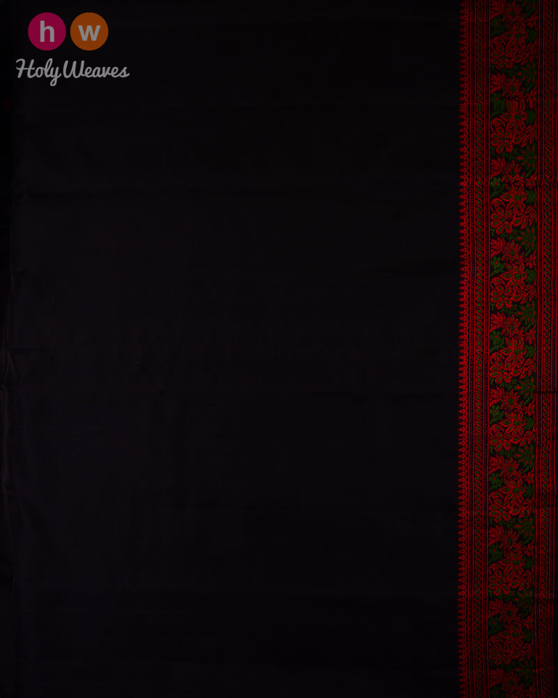 Black Resham Buti Kadhuan Brocade Handwoven Kora Silk Saree with Meenedar Resham Border Pallu - HolyWeaves