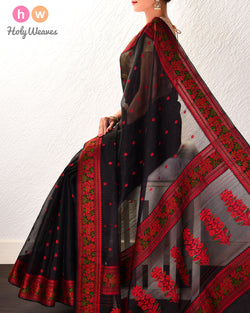 Black Resham Buti Kadhuan Brocade Handwoven Kora Silk Saree with Meenedar Resham Border Pallu