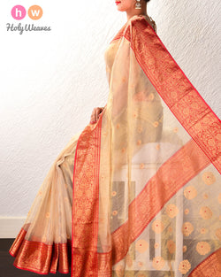 Golden Beige Meena Zari Buti Kadhuan Brocade Handwoven Kora Tissue Saree with Red Brocade Border Pallu