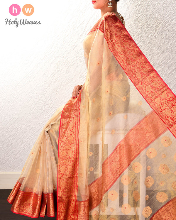 Golden Beige Meena Zari Buti Kadhuan Brocade Handwoven Kora Tissue Saree with Red Brocade Border Pallu - HolyWeaves