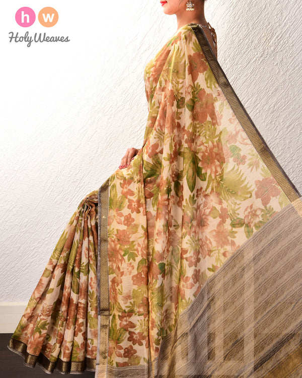 Beige Floral Printed Handwoven Cotton Silk Tissue Saree - HolyWeaves