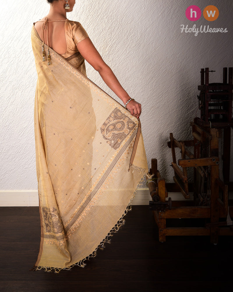Beige Koniya Buta Kadhuan Brocade Handwoven Tasar Muga Tissue Saree with Hand-embroidered Border Pallu