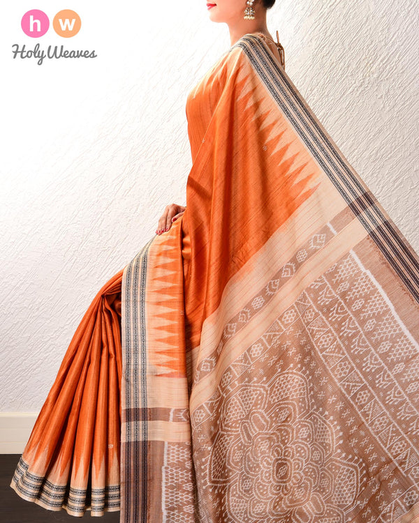 Beige Kadhuan Brocade Handwoven Tasar Silk Saree with Odisha Ikat Pallu & Orange Blouse