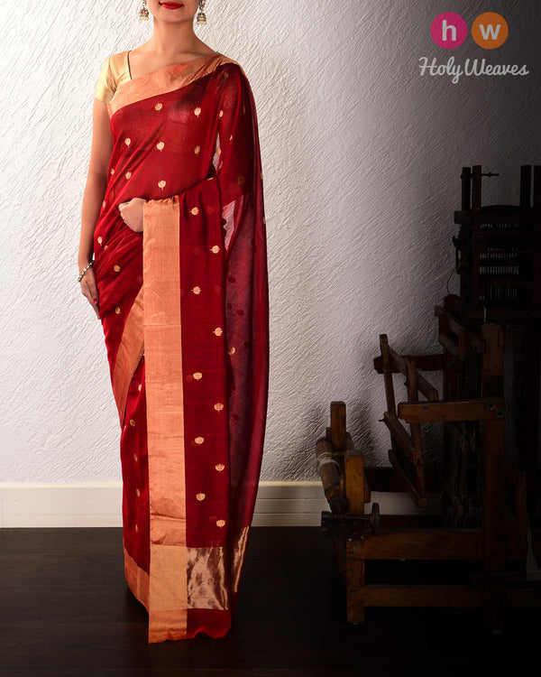 Red Kamal Buti Kadhuan Brocade Handwoven Cotton Silk Saree