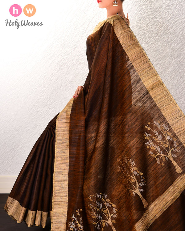 Clay Brown Kadhuan Brocade Handwoven Tasar Matka Silk Saree with Tree Pallu - HolyWeaves