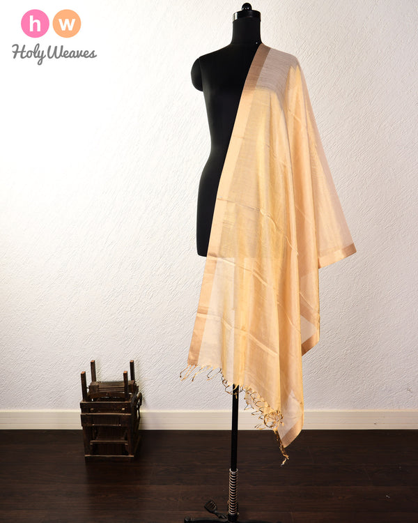 Gold Kadhuan Brocade Handwoven Cotton Silk Tissue Dupatta - HolyWeaves