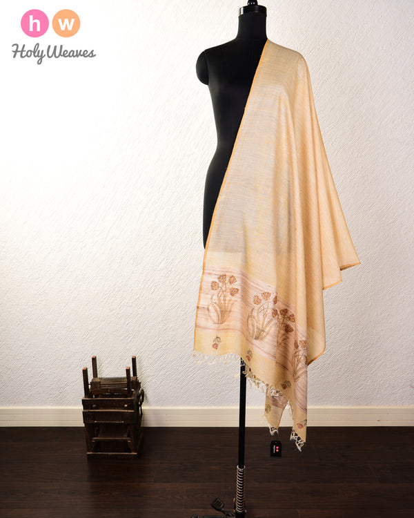 Beige Printed Body Hand-embroidered Tasar Muga Silk Dupatta - HolyWeaves
