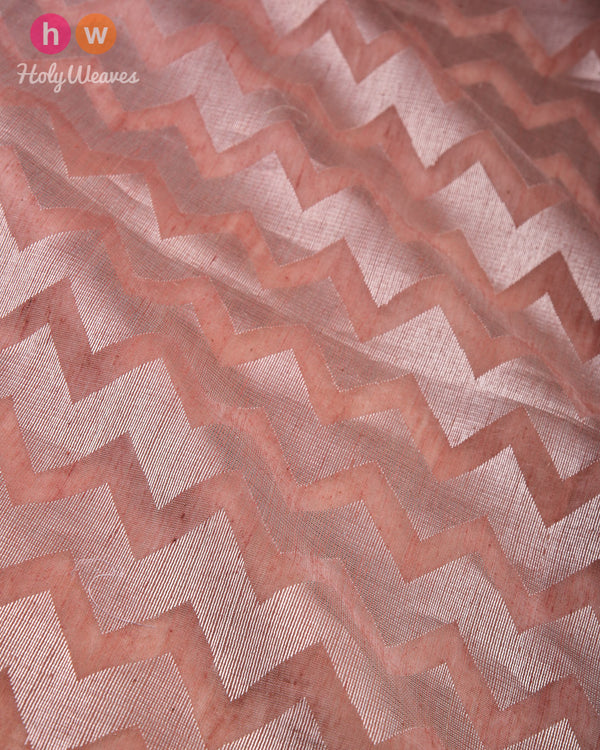 Rosy Brown Silver Zari Chevron Cutwork Brocade Handwoven Cotton Silk Dupatta