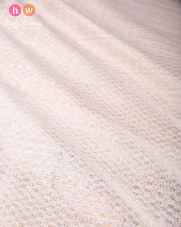 Cream Sona-Rupa Grid Brocade Handwoven Matka Silk Fabric