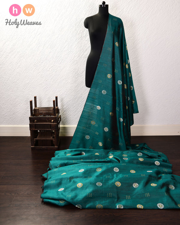 Green Sona-Rupa Buta Kadhuan Brocade Handwoven Raw Silk Fabric - HolyWeaves