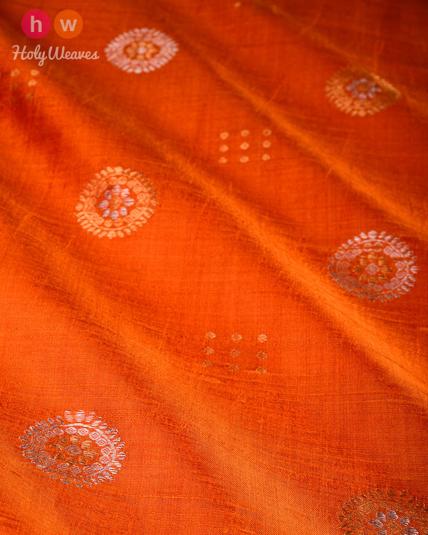Orange Sona-Rupa Buta Kadhuan Brocade Handwoven Raw Silk Fabric - HolyWeaves