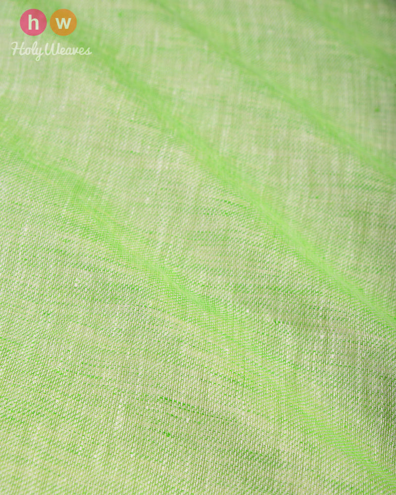 Green Plain Handwoven Linen Cotton Fabric