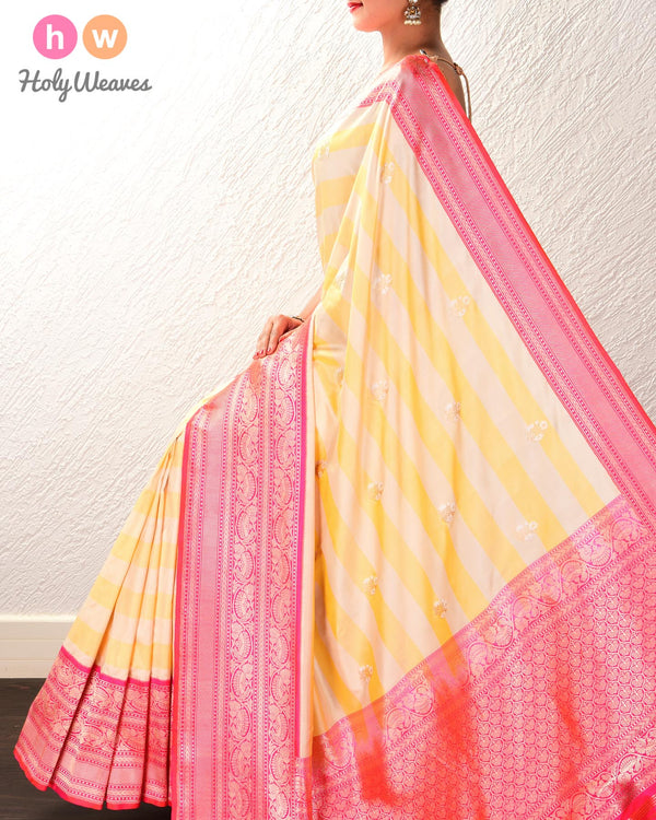 Yellow Banarasi Alfi Sona-Rupa Kadhuan Brocade Handwoven Katan Silk Saree with Pink Kadiyal Brocade Border - HolyWeaves