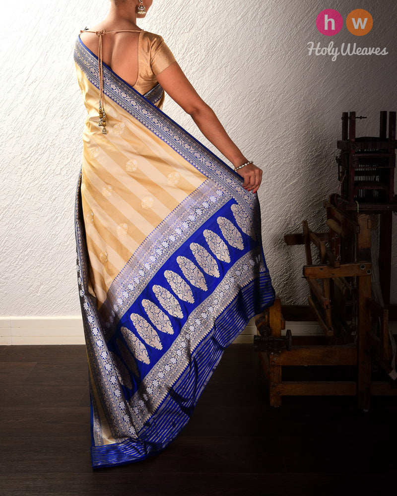 Beige Banarasi Alfi Sona-Rupa Kadhuan Brocade Handwoven Katan Silk Saree with Blue Kadiyal Brocade Border