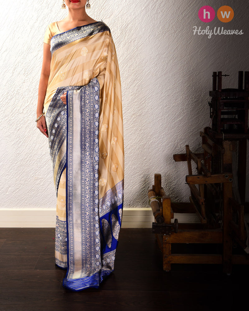 Beige Banarasi Alfi Sona-Rupa Kadhuan Brocade Handwoven Katan Silk Saree with Blue Kadiyal Brocade Border - HolyWeaves