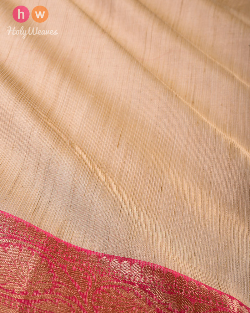 Golden Beige Banarasi Brocade Woven Cotton Tissue Saree - HolyWeaves