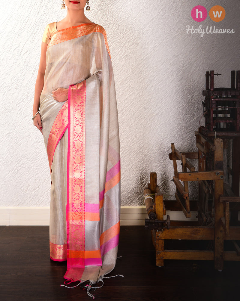Silver Gray Banarasi Brocade Woven Cotton Tissue Saree