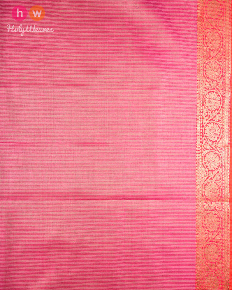 Pink Banarasi Brocade Woven Cotton Tissue Saree - HolyWeaves