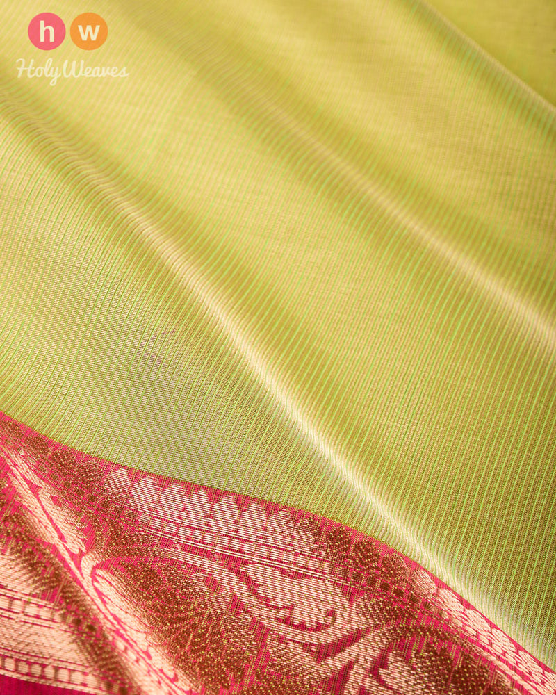 Green Banarasi Brocade Woven Cotton Tissue Saree - HolyWeaves