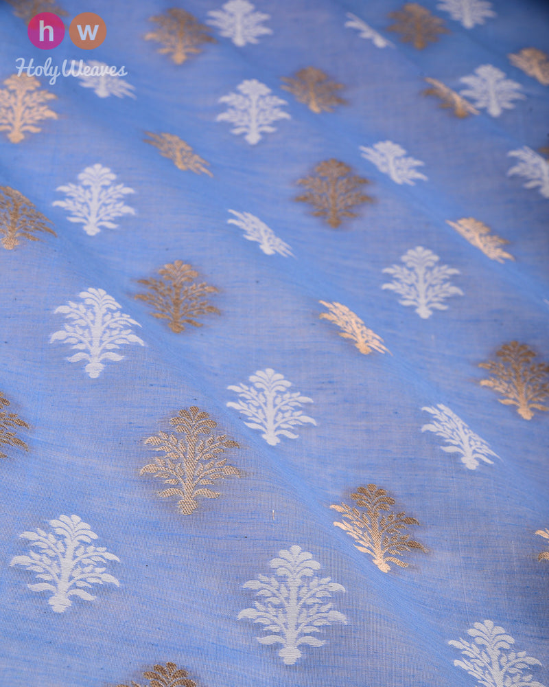 Carolina Blue Banarasi Cutwork Brocade Handwoven Cotton Silk Fabric - HolyWeaves