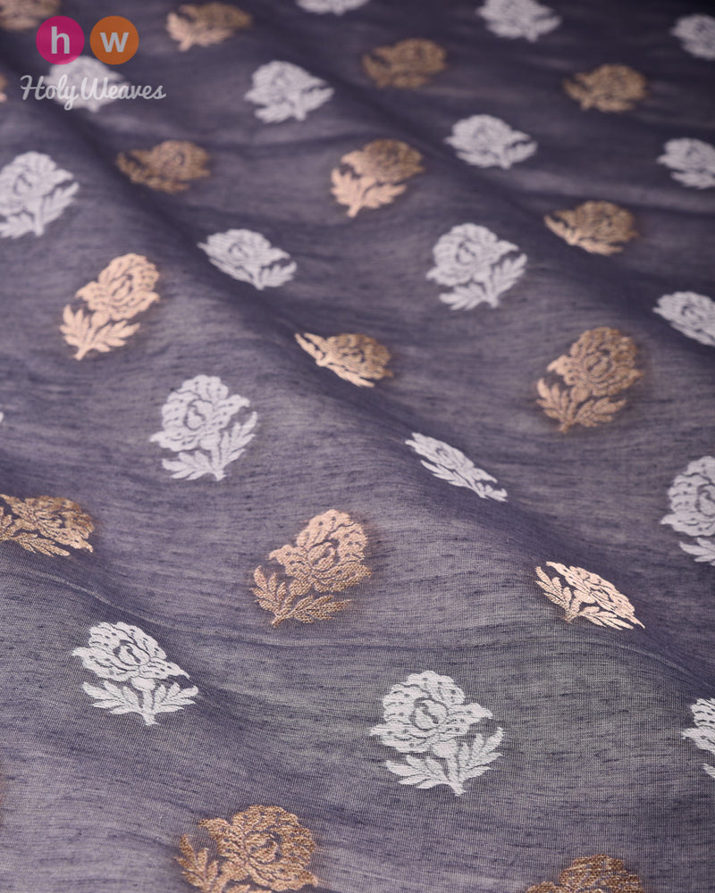 Gray Banarasi Cutwork Brocade Handwoven Cotton Silk Fabric - HolyWeaves