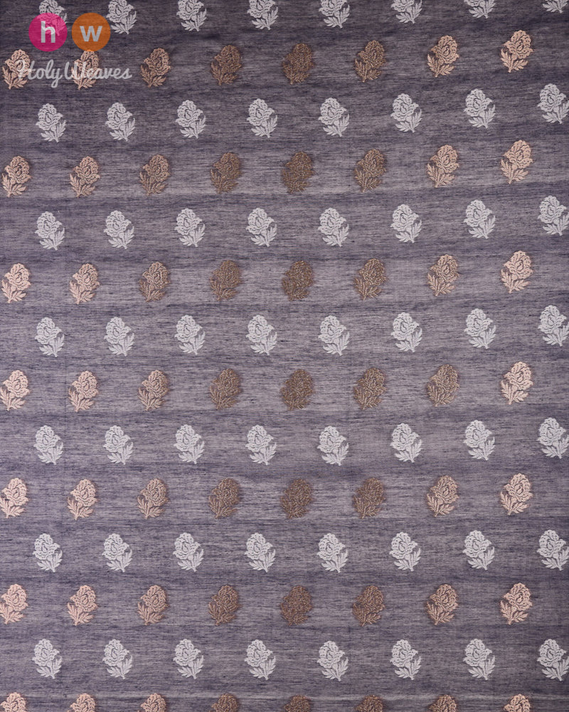 Gray Banarasi Cutwork Brocade Handwoven Cotton Silk Fabric