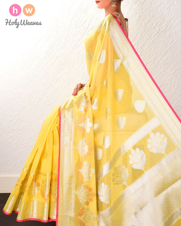 Yellow Banarasi Cutwork Brocade Woven Cotton Silk Saree with Silver Color Zari