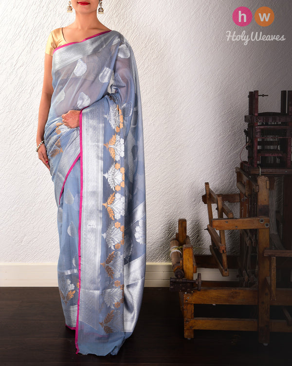 Gray Banarasi Cutwork Brocade Woven Cotton Silk Saree with Silver Color Zari